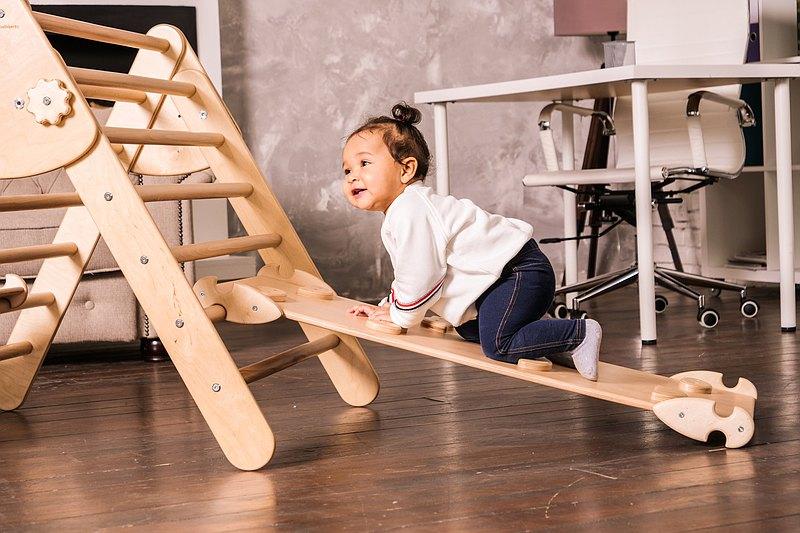嬰兒健身Pikler三角Pikler坡道手工製作蒙台梭利