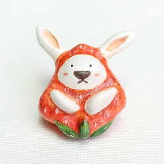 Handmade strawberry rabbit  brooch