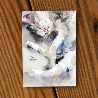 Watercolor Painted Hair Boy Series Postcard - Cat Lazy