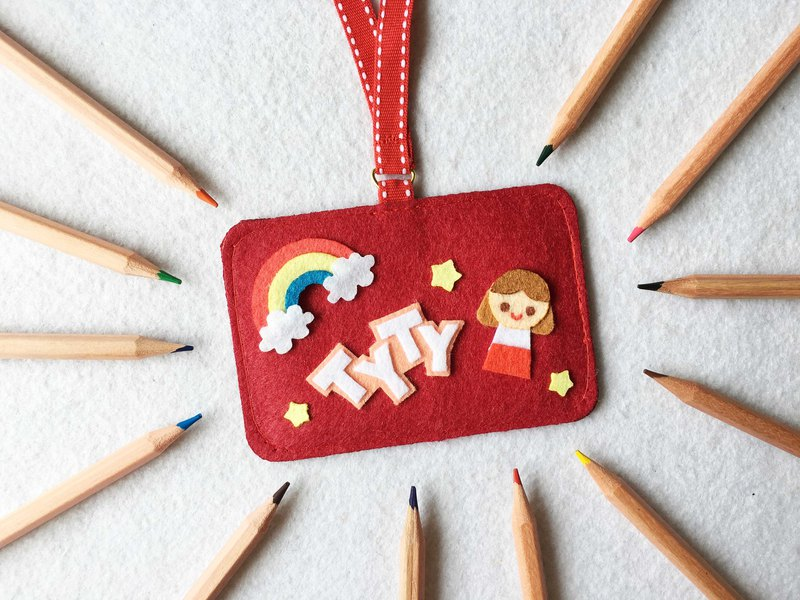 Red girl, rainbow and your name card holder with neck strap.