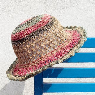 Valentine's Day gift limited handmade knitted cotton / hat / hat / fisherman hat / straw hat / straw hat - hollow woven donut stripes