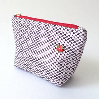 "Cosmetic bag with Japanese Traditional Pattern, Kimono ""Silk"""