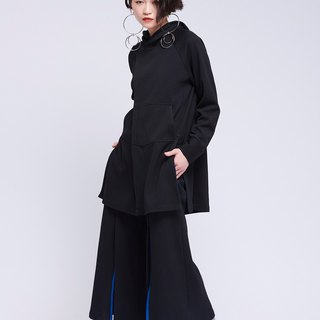 [Contactee] before the switch off the shape of black wide pants -2017 autumn and winter limited edition during the new original women's clothing