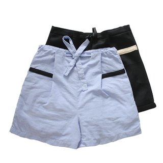 MaodiuL cat lost independent original college loose drawstring tie Bermuda shorts (blue and purple)