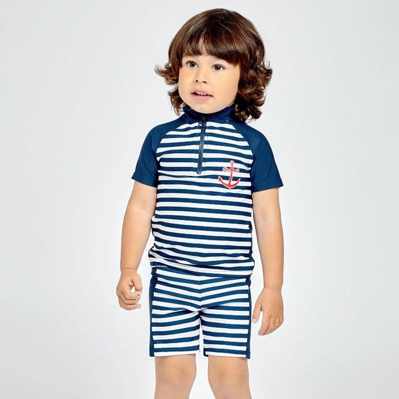 德國PlayShoes 抗UV防曬短袖兩件組兒童泳裝-海軍風
