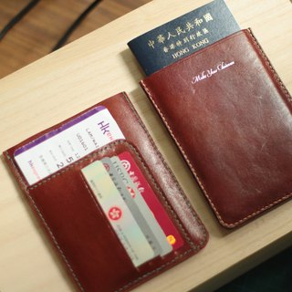 Make Your Choicesss Italian Handmade Leather Travel Passport Set Brown