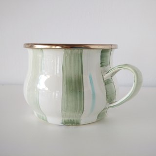Vine green striped painted cup