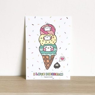 I LOVE Ice cream postcard
