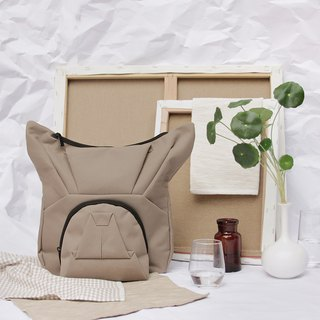 ORIBAGU Origami Bag_Brown Bucket Backpack