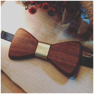 Natural Log Bow Tie - Walnut + Gold Leather (Gift / Wedding / Newcomer / Official / Valentine's Day)