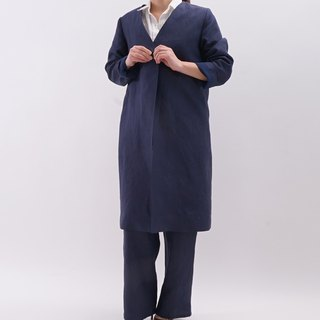 linen / no collar / coatigan / outerwear / naivy / b9-3