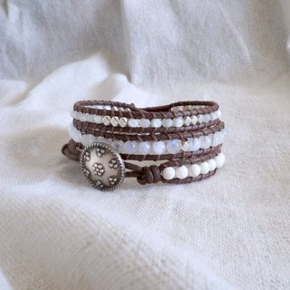 Natural stone woven bracelet - pure white / three ring cream moonstone white turquoise shell beads