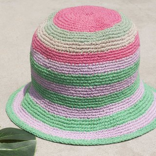 Chinese Valentine's Day gift limited a piece of land forest stitching hand-woven cotton hat / fisherman hat / sun visor / patch hat / handmade hat / hand crocheted hat / hand-woven - ice cream strawberry steamed cake striped cotton hat