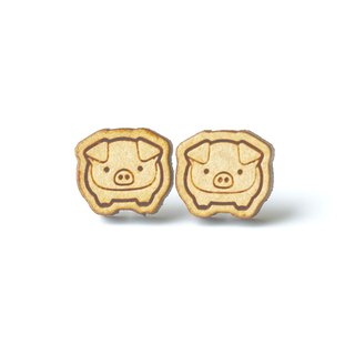 Plain wood earrings-Little Pig