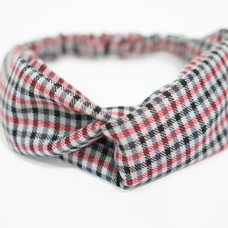 (Autumn and winter) red and black grid / manual elastic hair band
