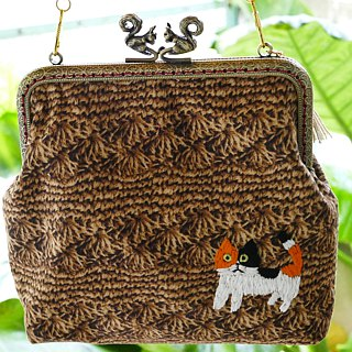 Embroidery handbag Tamakishigashi crochet pattern triple cat