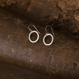 Circular 迴圈 耳鉤 純銀耳環 925 Silver Dangle Earrings