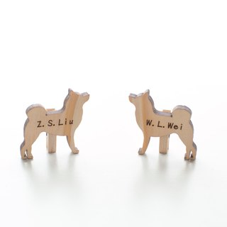Customized Chinese Valentine's Day Gift Name Gift Wood Light Color Wood Chip - Shiba Inu