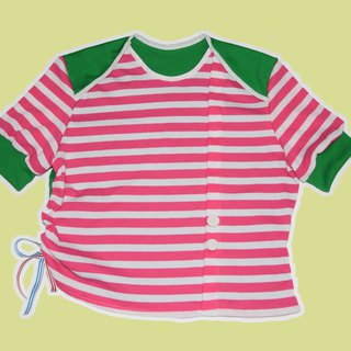 Pinky Stripe x Green Short Sleeves Cutting Top