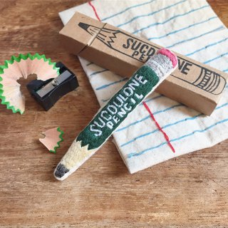 Stationery Series / Pencil (GREEN) / Hand Embroidery Pin Brooch