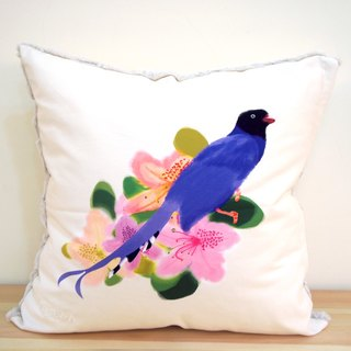 Taiwan Blue Dragonfly & Azalea Pillow - 50cm