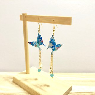 [Origami Earrings Series] Empty Blue Aqua Butterfly (can be changed ear clip)