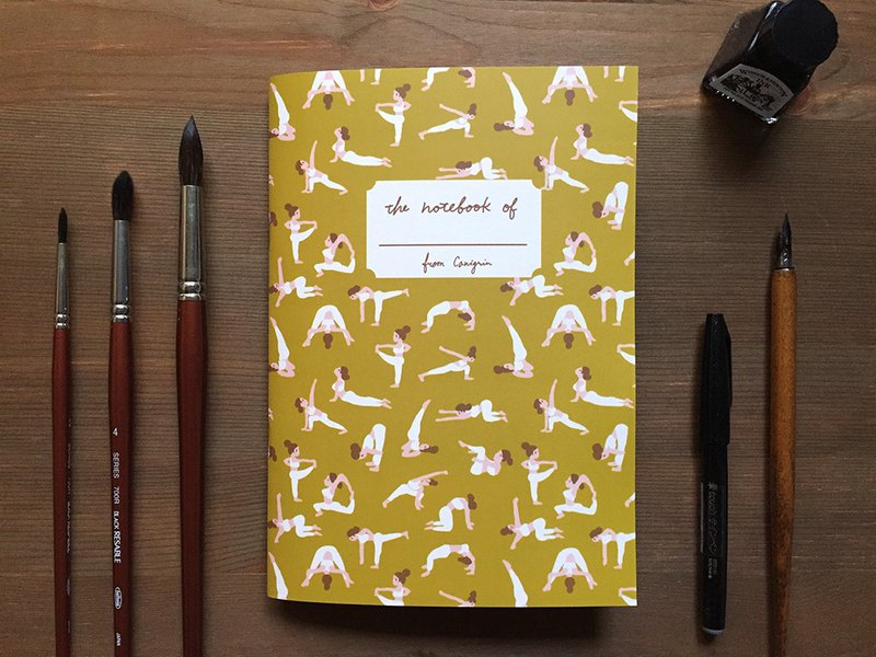 Yoga Notebook | Hand Illustrated Grid Notebook with Yoga Pattern, A5 notebook
