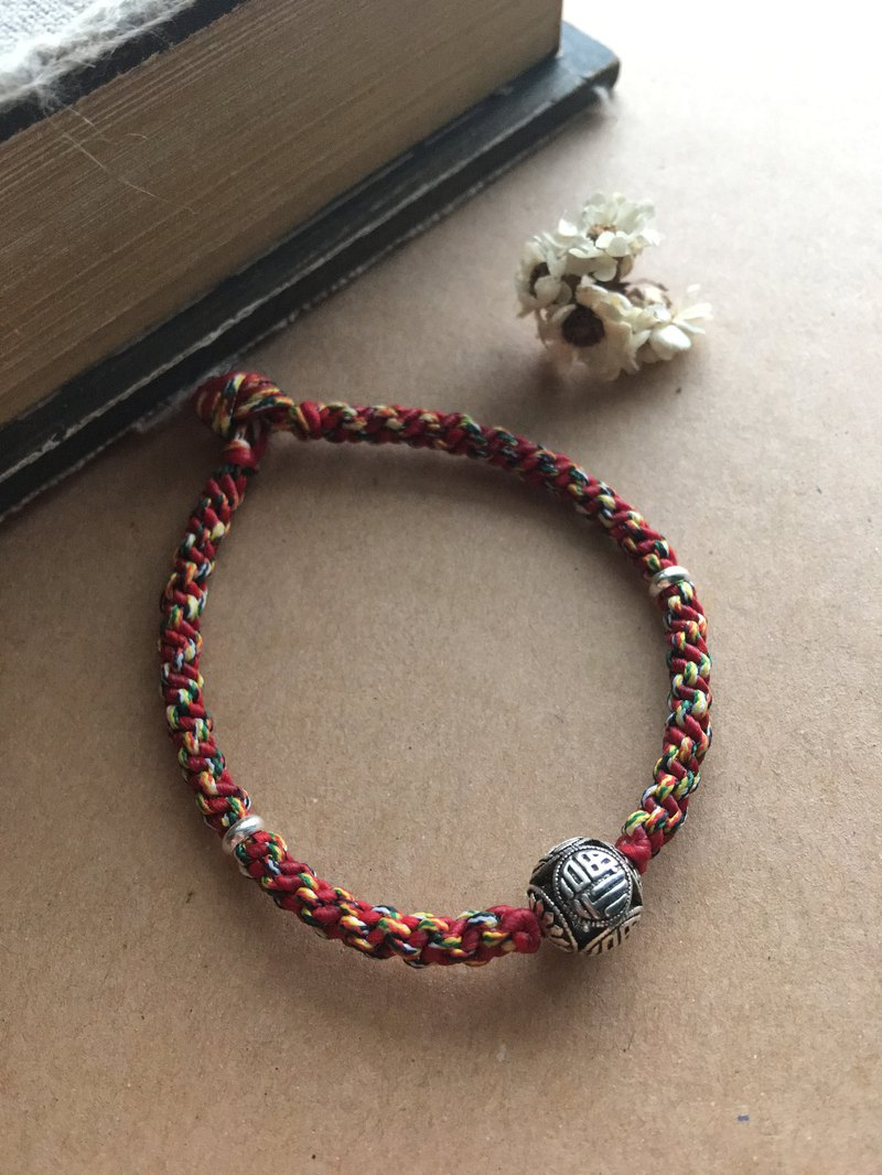 """Blessing is full"" Chinese style five-color line silk wax line braided bracelet red line"