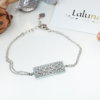 [Lalune] 925 sterling silver We used to be bad Capricorn No. 1 window pattern double chain bracelet
