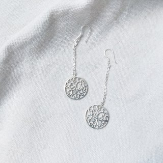 Round window hanging sterling silver earrings