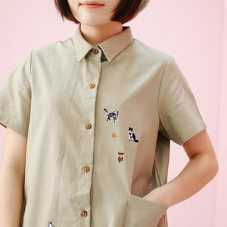 Shirt Dress (Cat Person) : GreenBeige
