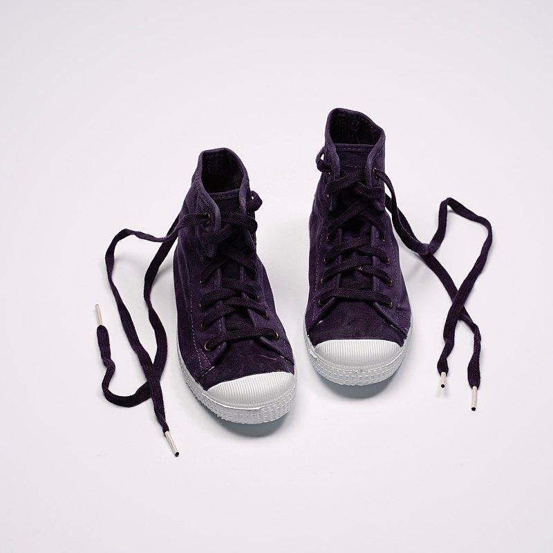 西班牙帆布鞋 CIENTA 61777 35 深紫色 洗舊布料 童鞋 高筒