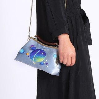 轲Artificial material Handmade gold bag Ms. Packet Felt Stereo Starry bag Shoulder Diagonal Portable Retro Leisure