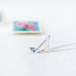 Aquamarine Music Note ネックレス 925 Sterling Silver