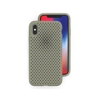AndMesh iPhoneX/Xs Japan QQ network soft anti-collision protective cover - mud green 4571384958400