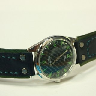 Original hand-color military Rong Army style vegetable tanned leather strap