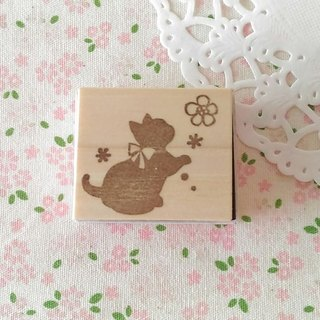 Flower and kitten's stamp