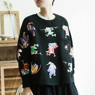 SYAO / Monster Print Sweater Men and Women