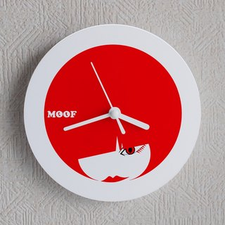 Muff Wall clock Illustration watch Simple design Hinomaru symbol Fashion Bobcut female