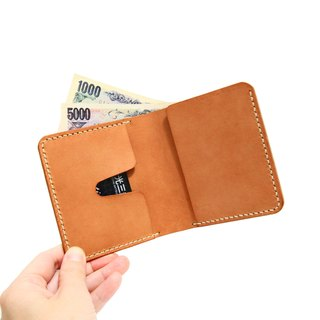 Small orange peel vegetable tanned leather short brief folder simple short wallet