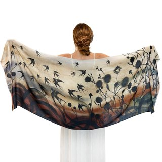 Swallows Scarf - Silk Cashmere
