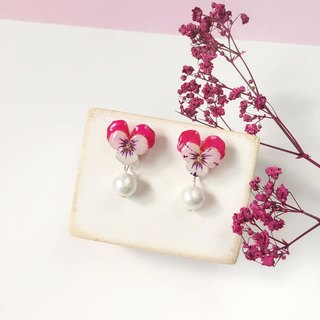 *Haku‧Neko*After hand-painted pansy pink duck ear Cotton Pearl Earrings Ear