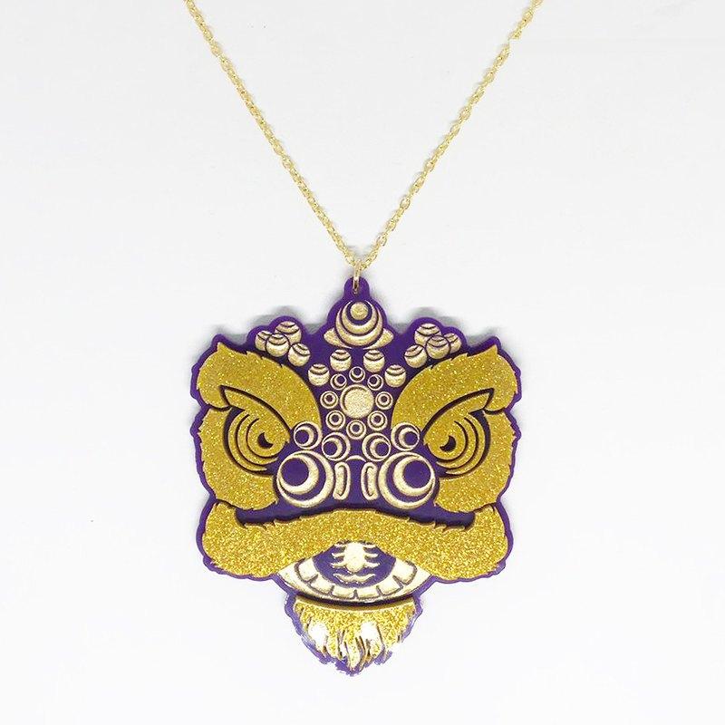 1f6e2ed31d Lion s House Purple Golden Lion Head Necklace - Designer noveltylane ...