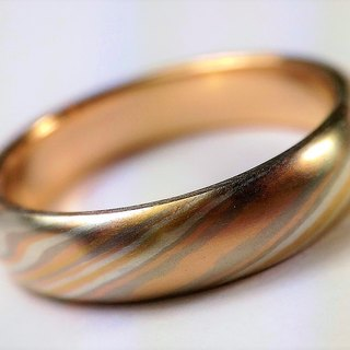 Element47 Jewelry studio~ Karat gold mokume gane wedding ring 15 (22KY/14KR/14KW