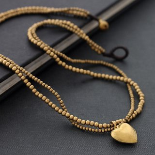 Heart Charm Brass Necklaces Short Multi Strand Necklaces