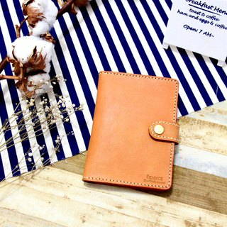 Small orange tanned leather passport holder/passport cover button