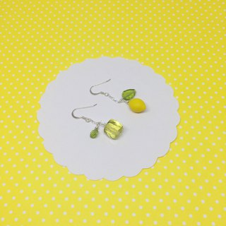 Metamorphosis of lemon, asymmetrical earrings