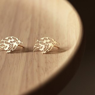Gold Leaf Earrings Skeleton Leaf Earrings (Gold)