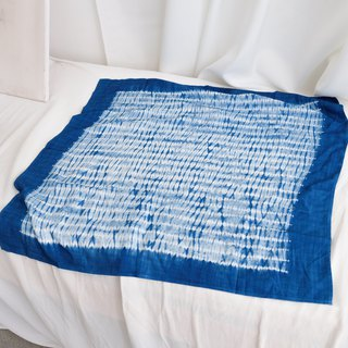 Corrugated square towel original blue dyed tie dyed handmade cotton wild scarf scarves scarf smooth cool texture thin
