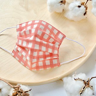 Natural cotton handmade mask Gingham Red | Reduce cloudiness of glasses
